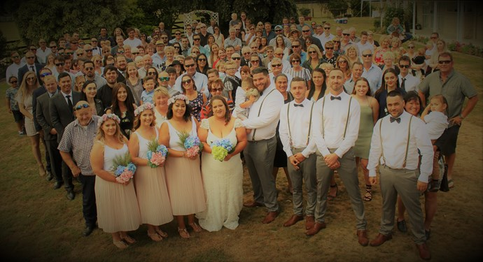 The happy couple's family and friends were a huge help to them in preparing for their big day. Photography Lisa Wyeth.