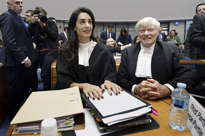 Amal Clooney pictured with Geoffrey Robertson in 2015.