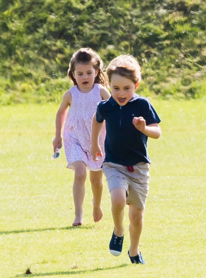 Princess Charlotte playing with her older brother, Prince George.