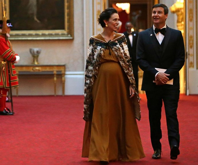 Jacinda Ardern and Clarke Gayford at The Queen's Dinner during The Commonwealth Heads of Government Meeting earlier this year.