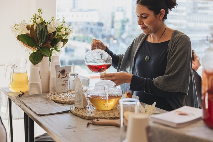 "Nadia pouring [Ti Ora](https://www.tiora.co.nz/|target=""_blank""|rel=""nofollow"") tea."