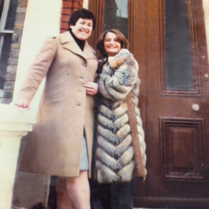 "In London with a friend (Ruth is on the left), when she was 27 and was a ""taller, bigger girl""."