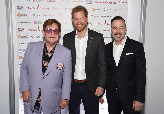 Sir Elton John, Prince Harry  and David Furnish.