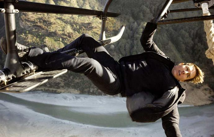 Tom filmed some hair-raising helicopter scenes in New Zealand.