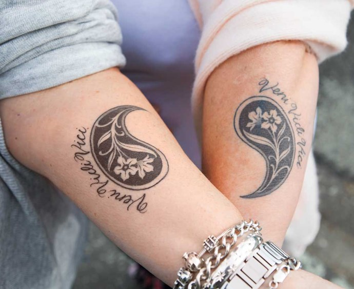"""On Sonya's birthday this year, the pair got matching tattoos, featuring the Latin phrase """"I came, I saw, I conquered""""."""