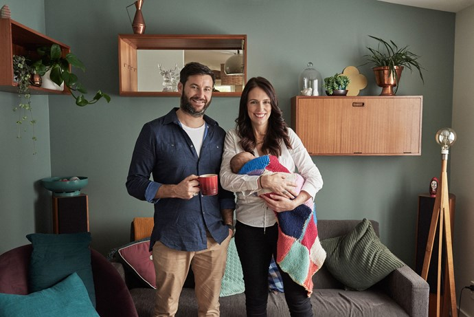 Jacinda Ardern and partner Clarke Gayford released two new images of themselves in their new Sandringham home with baby Neve on Ardern's first day back at work. The images were taken by Derek Henderson.
