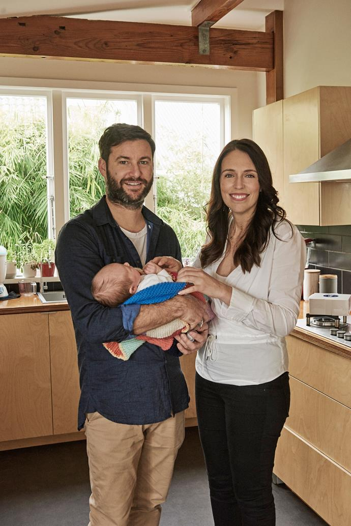The new little family in the kitchen of their new home in Sandringham.