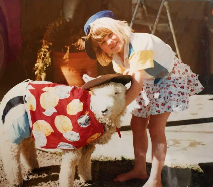 With Billy the lamb in 1993.