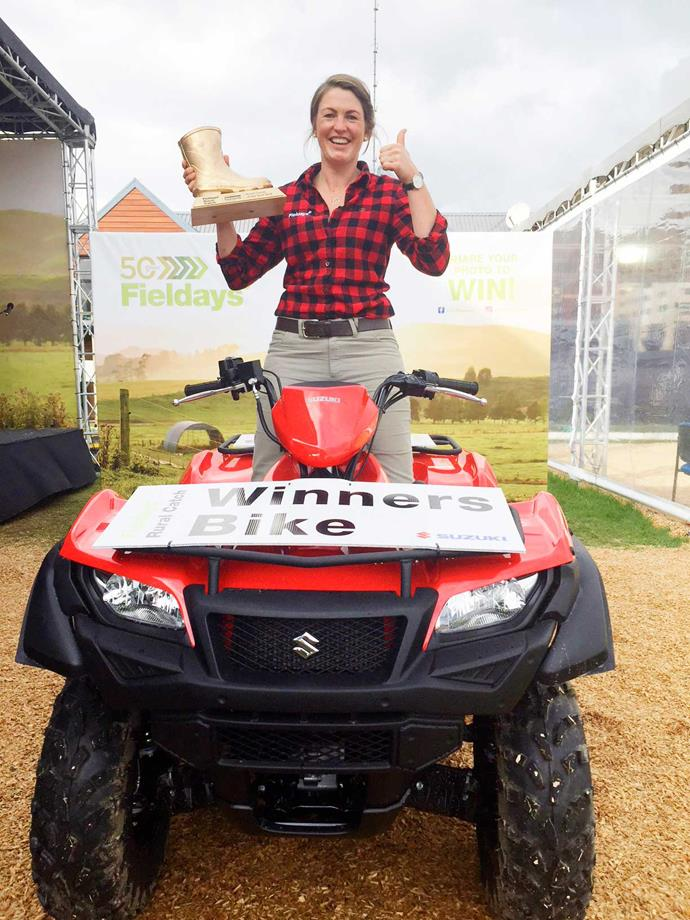 Mairi won the title of Fieldays Rural Catch. She hasn't taken her prize – a Suzuki quad bike – out in the mud yet as it's so new and shiny!