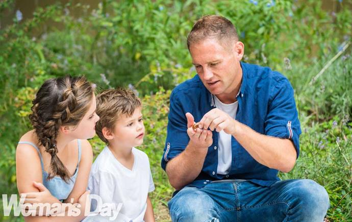 Sowing the seeds: Scarlett (left) and Arthur are keen to learn from their green-thumbed dad.