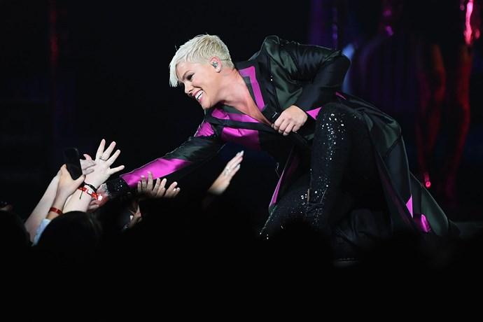 Pink greets fans during her Melbourne concert.