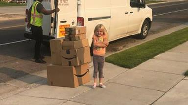 This little girl's glee is obvious when the $350 worth of toys she secretly ordered on her mum's credit card turn up!