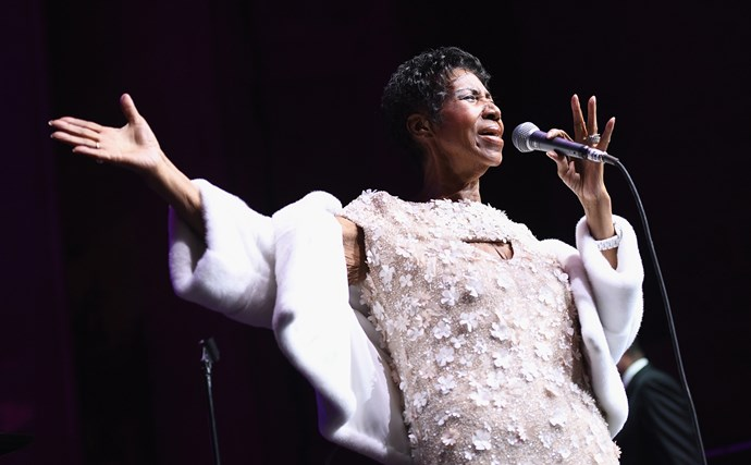 Aretha performs at the Elton John AIDS Foundation 25th year celebrations in 2017. This was her last performance.