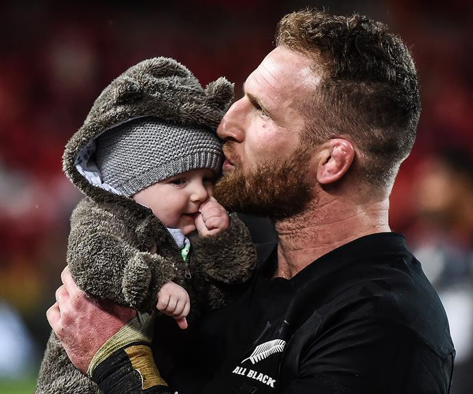 Kieran and his son Reuben at the end of last year's 3rd test against the Lions.