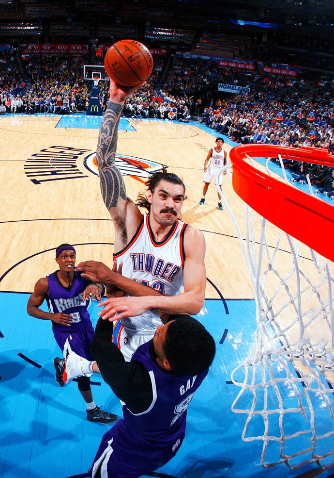 "Slam dunk! The athlete jokes that ""this is probably the closest I got to a Tom Selleck moustache""."