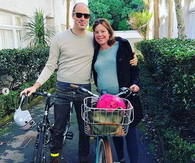 Julie Anne Genter cycles to hospital to be induced at 42 weeks pregnant
