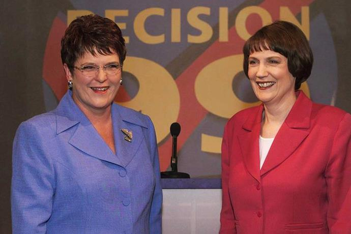 Dame Jenny Shipley and Helen Clark battled for New Zealand's top job in 1999.