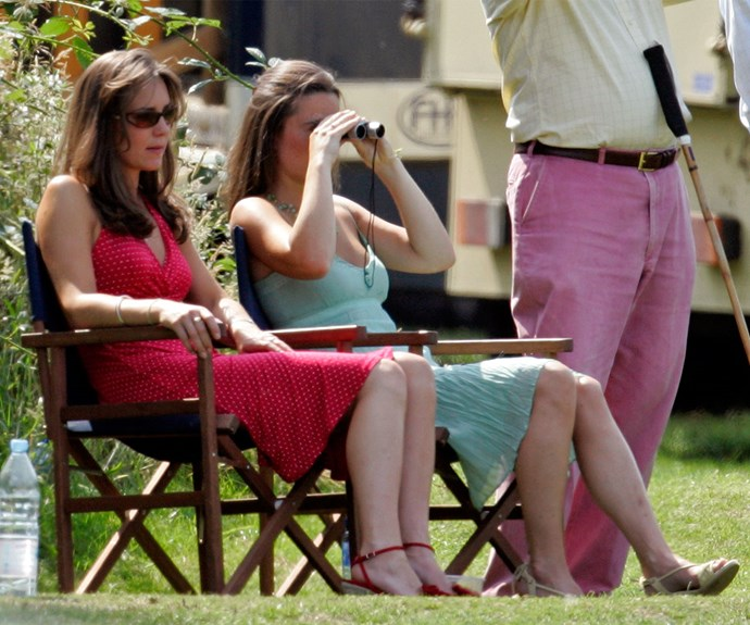 Duchess Catherine looks barely recognisable at a 2006 charity polo match with sister Pippa.