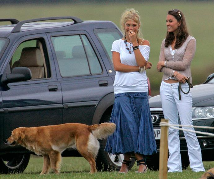 "What a blast from the past! Here's a casual Kate hanging out with [Prince Harry' ex-girlfriend Chelsy Davy](http://www.nowtolove.co.nz/celebrity/royals/prince-harry-and-chelsy-davys-phone-call-before-wedding-37889|target=""_blank""). The pair watched Prince Harry and Prince William play in a charity polo match."