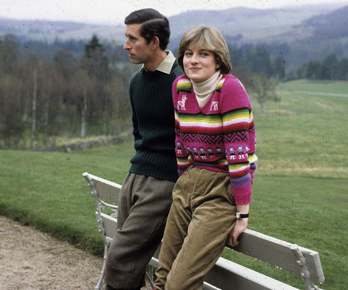 A happy and relaxed Diana with her future husband, Prince Charles.