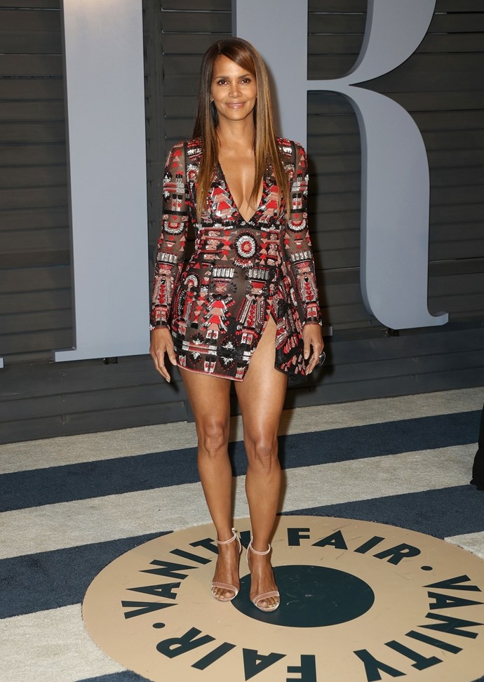 Halle Berry at the 2018 Vanity Fair Oscar Party in March - still as strikingly beautiful as ever.