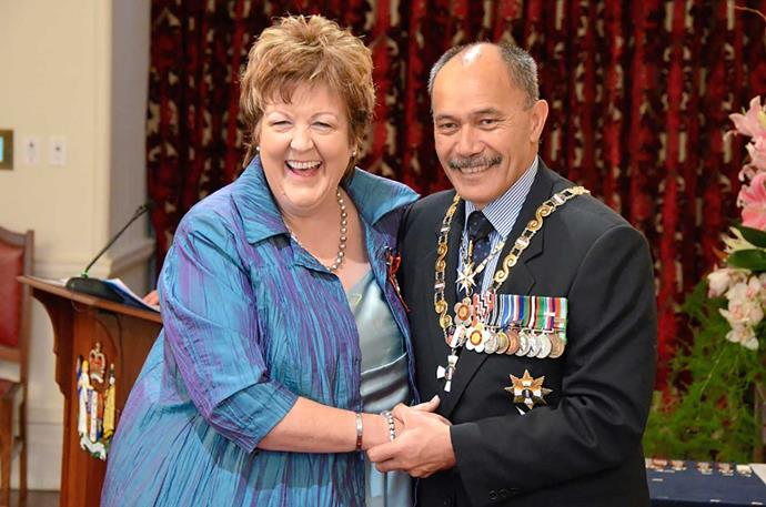 Jo with then Governor-General Sir Jerry Mateparae after she was invested as a Member of the New Zealand Order of Merit in 2015.