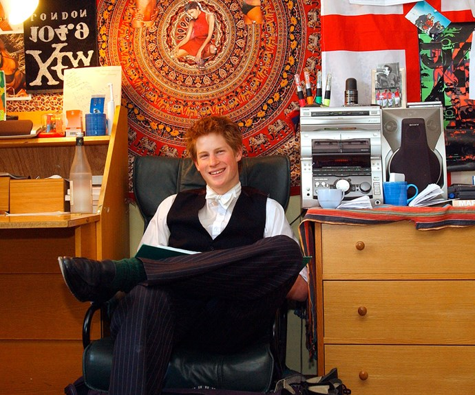 "Prince Harry in his Eton College dorm room. [Harry's school boy crush](http://www.nowtolove.co.nz/celebrity/royals/prince-harrys-schoolboy-crush-halle-berry-finally-notices-him-38893|target=""_blank"") was revealed in this photo - and she noticed!"