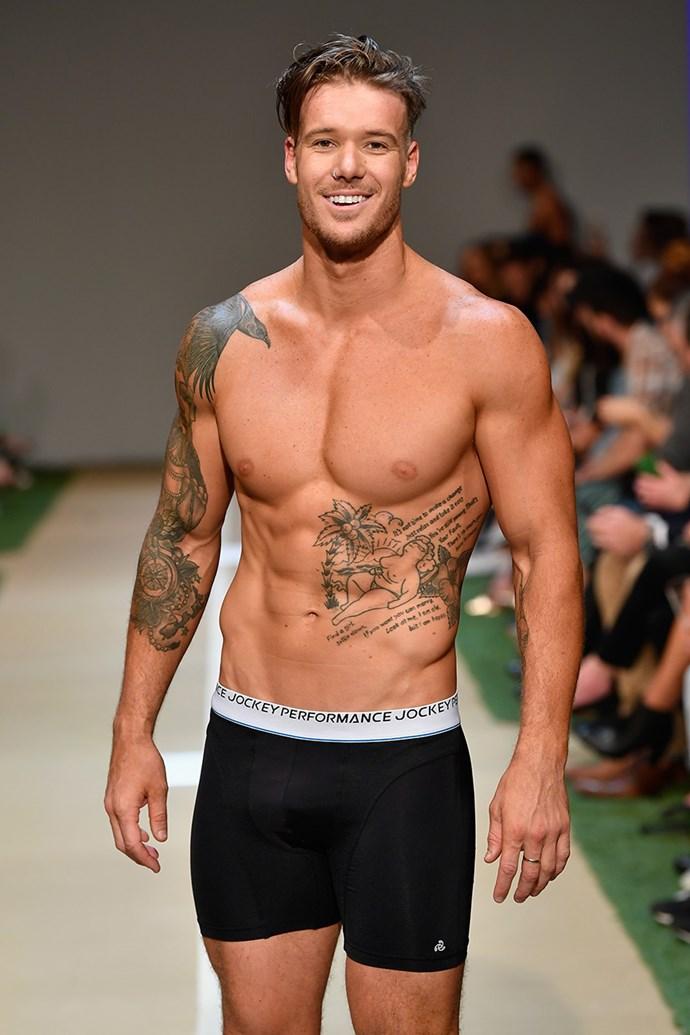 Plumber turned social media sensation Logan Dodds showed off an impressive collection of tattoos.