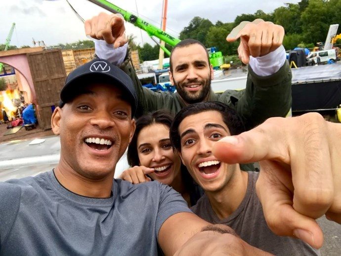 Naomi on the set of Aladdin with her cast-mates including the incomparable Will Smith.