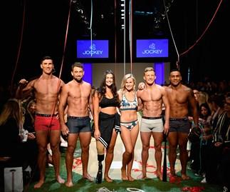 Matilda Rice, Jess Quinn and the All Blacks strut their stuff in the Jockey show at Fashion Week