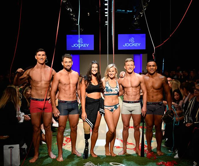 Matilda Rice, Jess Quinn and the All Blacks strut their stuff in the Jockey show at Fashion Week