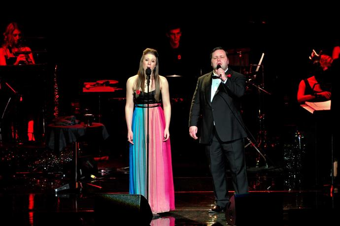 The entertainer with UK sensation Paul Potts at the Royal Albert Hall in 2009.
