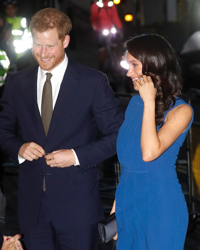 Duchess Meghan stunned in a cobalt blue dress.