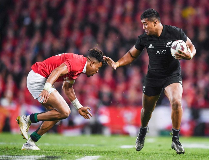 The All Black fends off an attack by the Lions in 2017.