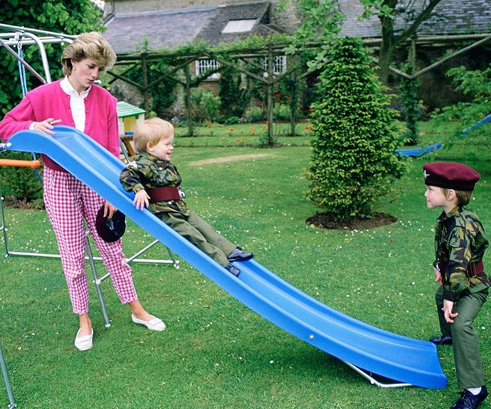 Princess Diana, Prince William and Prince Harry playing together is absolutely adorable!