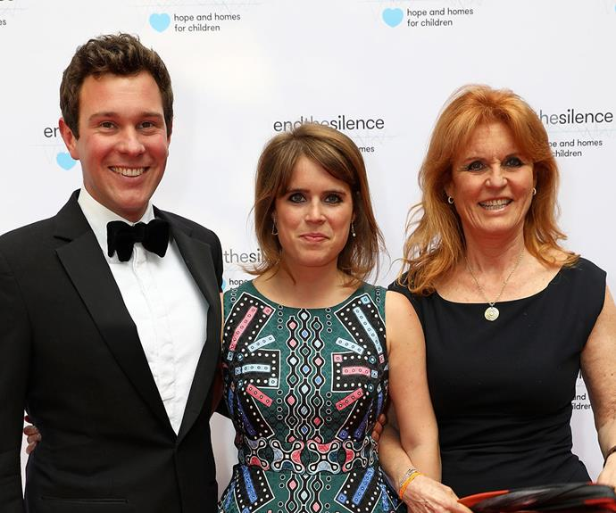 Sarah Ferguson with daughter Eugenie and her husband Jack.