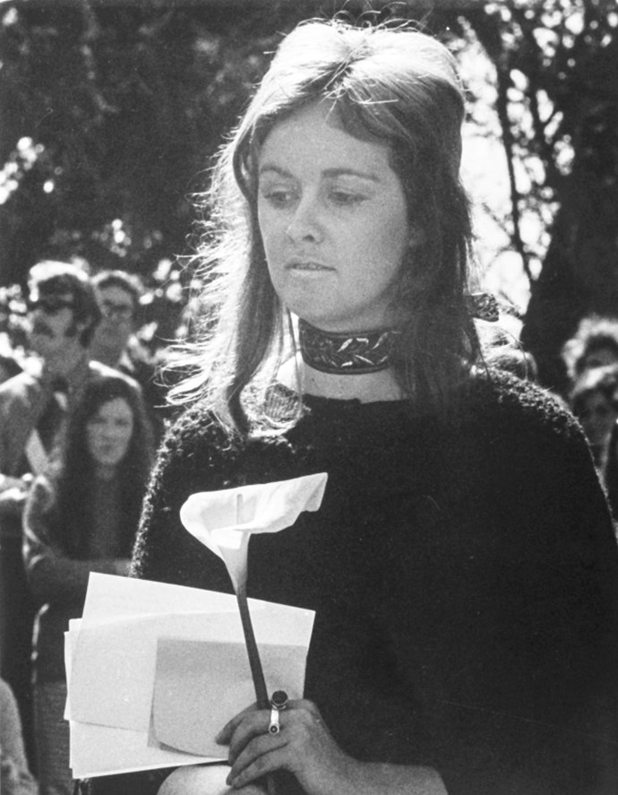 Sue Kedgley at the protest she organised in Auckland's Albert Park, 1971. *image courtesy of the Gerrard and Marti Friedlander Charitable Trust*