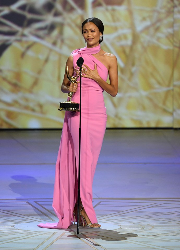 Thandie Newton with her award for best supporting actress in a drama, for her performance in *Westworld*