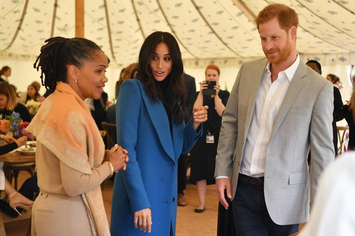 Meghan and Harry with Meghan's mother Doria.
