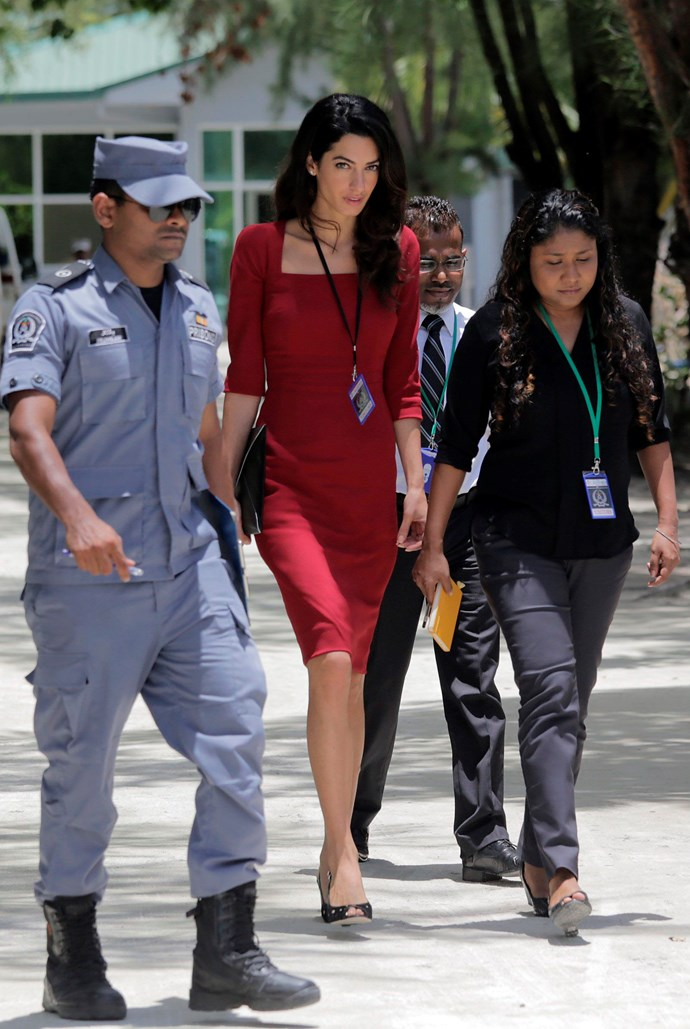 Human rights lawyer Amal leaves a prison in the Maldives after visiting former president Mohamed Nasheed.