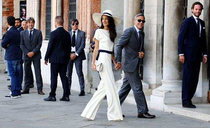 The happy couple arriving for their civil ceremony in Venice in 2014.