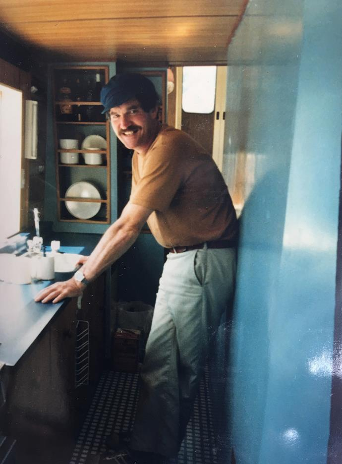 John in the galley of his houseboat