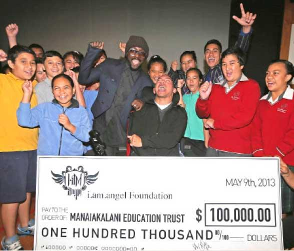 On his last visit to NZ with the Black Eyed Peas he gave $100,000 to low-decile schools.