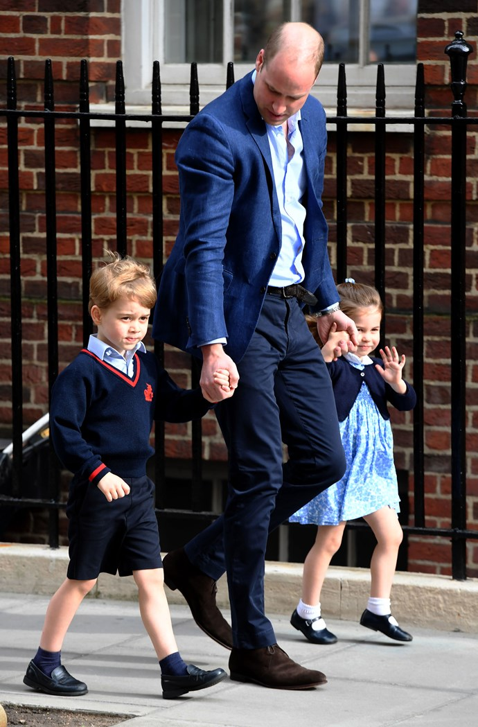 Prince William with two of his wonderful children, Prince George and Princess Charlotte.
