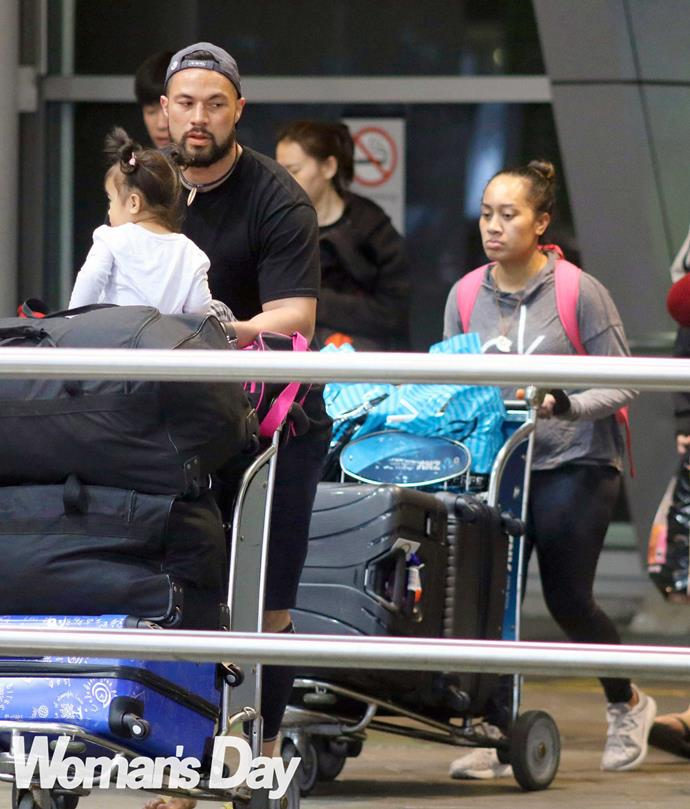 Joseph, his partner Laine and daughter Elizabeth touch down in Auckland.