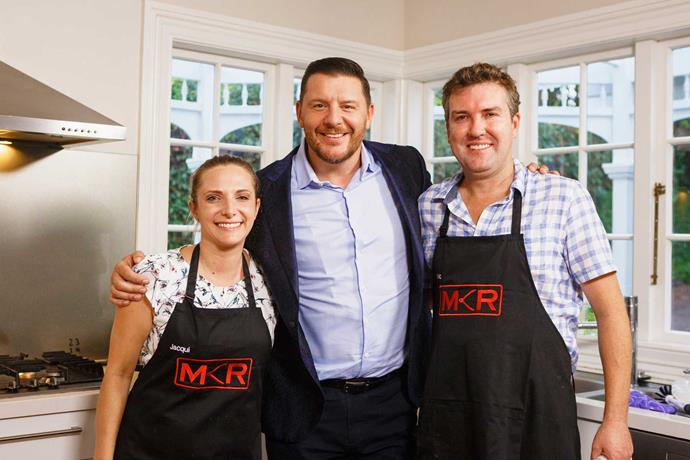 Manu with MKR contestants married couple Jacqui and Nic.
