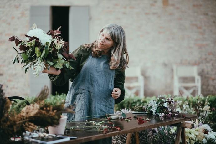 Vicki Roycroft leading a floral workshop.