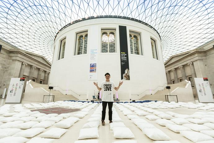 Michael James Wong runs a Just Breathe mindfulness event at the British Museum in London.