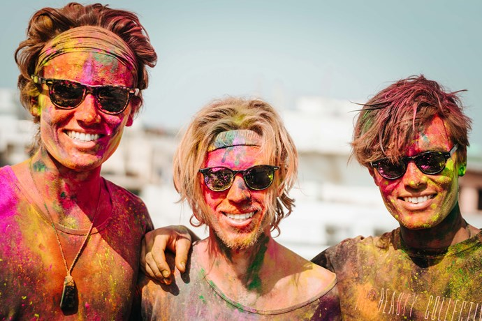 Arthur Gillies, Sean Wakely and Freddie Gillies (L-R) at the Holi festival in New Delhi, India.