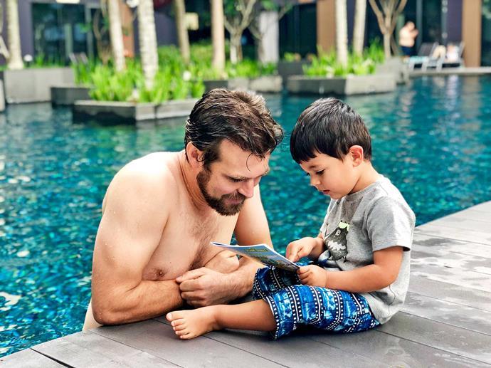 Nadia's husband Carlos and older son Bodhi.